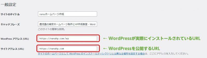 WordPressアドレス(URL)とサイトアドレス(URL)違い